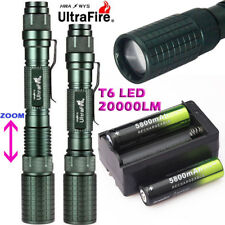 20000LM Zoom T6 LED 18650 Flashlight Torch Lamp Light+18650 BTY+Charger Camping