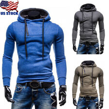 Mens Zipper Hooded Gym Slim Fit Athletic Tops Casual Clothes Jacket Coat Sweater