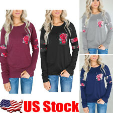 US Womens Floral Crew Neck Blouse T-Shirt Casual Long Sleeve Tops Loose Pullover