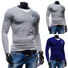 Hot Men's Slim Fit Shirts V-Neck Long Sleeve Casual Sport Solid T-Shirt Tee Tops