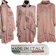 Womens Italian Lagenlook Floral Lace 3 Piece Layered Tunic Top Dress With Scarf
