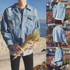 Men's Loose Retro Denim Jeans Coat Jacket Button Casual Sweater Overcoat Outwear