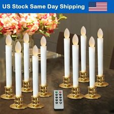 Flameless Taper Candles LED Christmas Tree Timer Candle Halloween W/ Gold Base