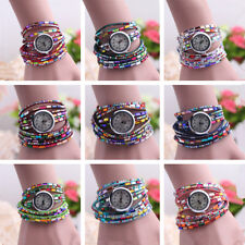 Wrist Watch Beaded Women's Quartz Wrist Watch Bracelet Crystal 1 Pcs Bangle