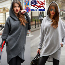 US Womens Long Batwing Sleeve Pullover Hoodie Loose Irregular Sweater Baggy Tops