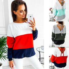 Women's Long Sleeve T Shirt Patchwork Backless Strappy Ladies Loose  Blouse Tops