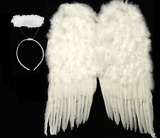 """White Feather Wings + Halo Halloween Costume - HUGE 36"""" - 24"""" or 14"""" SHIPS FAST!"""