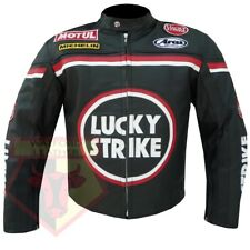 LUCKY STRIKE 0113 BLACK MOTORCYCLE MOTORBIKE COWHIDE LEATHER ARMOURED JACKET