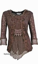 NEW Pretty Angel Clothing Tory PLUS SIZE Ladies Retro Knit Top In Coffee 11036