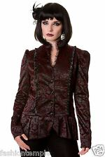 Banned Women's Coats Lace Ivy Pattern Victorian Black Gothic Style Jacket