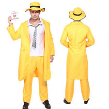 Gents Jim Carrey The Mask Fancy Dress Costume Outfit Yellow Gangster Zoot Suit