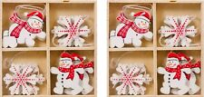 8 SMALL WOODEN ORNAMENTS CHRISTMAS TREE DECORATIONS: SNOW FLAKES, SNOWMAN 3.5CM