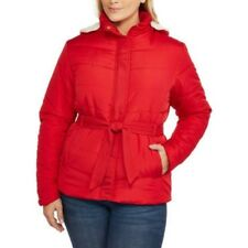 Climate Concepts Women's Red Belted Hooded Puffer Coat with Faux Fur Trim  4X