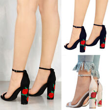 Womens Ladies Floral Block High Heels Sandals Ankle Strappy Open Toe Party Shoes