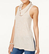 Sleeveless Cowl-Neck Tunic Juniors Ivory Oatmeal Striped Gray Knit Top