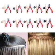 Pro Silicone Micro Rings Beads Feather Hair Extension Tools Set Pliers Hook fm