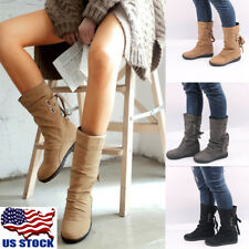 Women Casual Flat Low Heel Slip On Snow Winter Mid-Calf Boots Lace Up Shoes 5-10