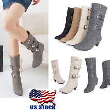 US Women Classic Faux Suede Mid-Calf Boots Low High Block Heel Buckle Shoes Size