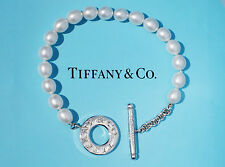 Tiffany & Co Pearl Toggle Sterling Silver Charm Bracelet