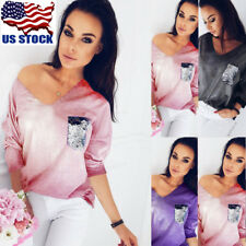 US Womens Sequin V Neck Long Sleeve Crop Top Casual Clubwear Loose Blouse Shirts