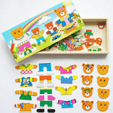 Fashion Baby Bear Change Clothes Puzzle Block Wooden Jigsaw Toy Kid Child Gifts