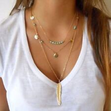 New Fashion Feather Necklace Leaf Layer 3 Necklace Multilayer Necklace Women