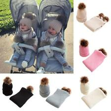 BABY KIDS PLAIN KNITTED HAT TODDLERS WINTER WARM SCARF CAP SET WITH FAUX FUR POM