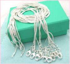 Free shipping wholesale 5PCS sterling solid silver 1MM snake chain VX