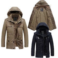 Mens Coats Parkas Winter Military Padded Casual Trench Hooded Jackets Sz M-2XL