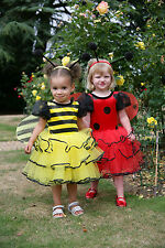 GIRLS KIDS CHILDRENS DELUXE LADYBIRD / BUMBLE BEE FAIRY PRINCESS COSTUME AGE 2-5