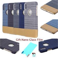 Film + CANVAS FABRIC FASHION Jeans Pattern Hard Back Case Cover For Apple iPhone