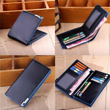 Mens Long Casual Faux Leather Wallet Pockets Card Clutch Cente Bifold Purse New