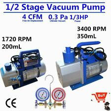 1/2 Stage 1/3HP 4CFM Rotary Vane Deep Vacuum Pump HVAC AC Air R134 R410a USA BP