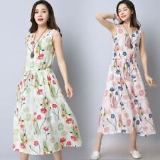 New Fashion Cotton Linen Vintage Print Slim Casual Long Dress For Women