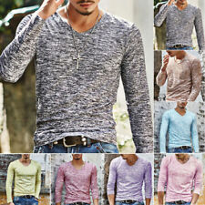 Mens Muscle Long Sleeve Shirt V-neck Casual Slim Fit T-shirt Tee Tops Blouse SML