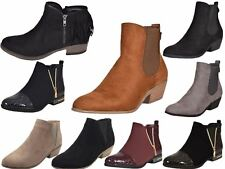 Ladies Chelsea Faux Suede Fashion Cowboy Low Ankle Boots Womens Mid Heels Shoes