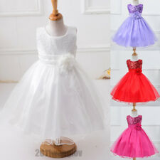 Flower Girl Kids Sequins Princess Party Wedding Bridesmaid Tulle Gown Tutu Dress