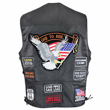 Men's American 3037 Live to Ride Biker Leather Motorcycle Vest Gun Pocket