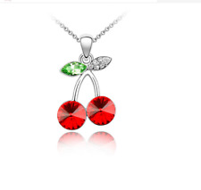 Women Fashion Charm Jewelry Chain Pendants Austrian Crystal Necklace - Cherry