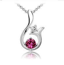New Women Fashion Charm Jewelry Chain Pendants Austrian Crystal Necklace -Sunny