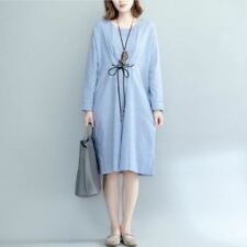 Women Autumn Vintage Loose Striped O-neck Long Sleeve Belted Dress