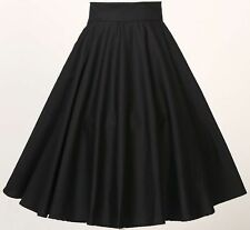 Women Retro Vintage Rockabilly 50's Party Club Clothes Full Circle Skirt-Black