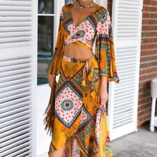 Women Floral Print 2 Two Piece Set Yellow Color Vintage Loose Sleeve Maxi Dress