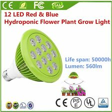 12W/24W E26/E27 PAR38 12 LED Red & Blue Hydroponic Flower Plant Grow Light Bulb