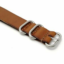 18mm 20mm 22mm Genuine Leather Wristband Watch Band Strap Steel Buckle Straps