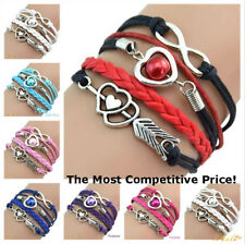 *UK* Infinity Love Heart Pearl Friendship Antique Silver Leather Charm Bracelet