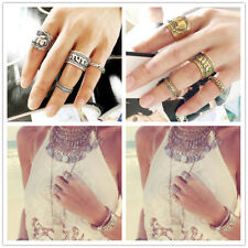 Punk Retro Mid Midi Above Knuckle Ring Set Band Gold Silver Tip Finger Stacking