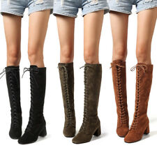 Womens Ladies Suede Knee High Boots Shoes Block Heel Lace Up Casual Party Boot