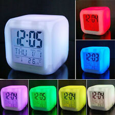 LED Digital Colorful Electronic Alarm Clock Night Light Kid Bedroom Decor Newest