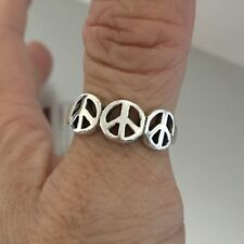 Sterling Silver 3 Peace Sign Ring, Silver Ring, Rings
